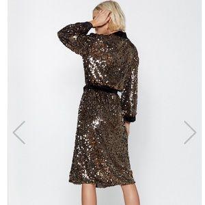 Nasty Gal Jackets & Coats - NastyGal Sequin Velvet Longline Jacket Robe